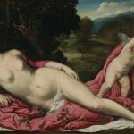 Torna a Ca' d'Oro la Venere di Paris Bordon - Paris Bordon, (Treviso 1500 - Venezia 1571), Venere dormiente con amorino,  tela, Collezione G. Franchetti, cat. d. 39